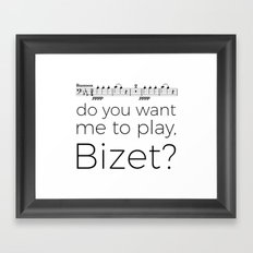 Bassoon - Do you want me to play, Bizet? (white) Framed Art Print
