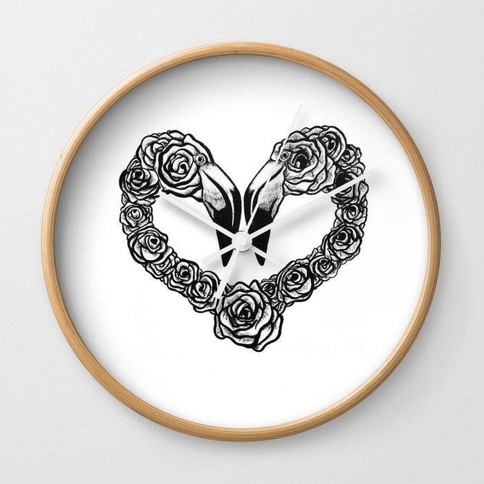 Flamingo Heart Wall Clock
