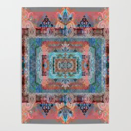 Psychedelic Boho Persian Rug Tapestry Print Poster