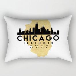 CHICAGO ILLINOIS SILHOUETTE SKYLINE MAP ART Rectangular Pillow