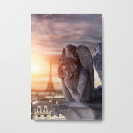 Gargoyle of the Cathedral of Notre Dame de Paris overlooking Paris Metal Print