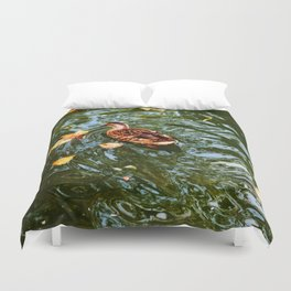 Duck in autumn Duvet Cover