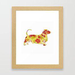 Garden Charm IV:  Shabby Floral and Geometric in Bright Orange and Yellow with Dog Framed Art Print