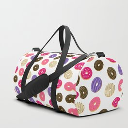 Modern cute pastel hand drawn donuts pattern food illustration Duffle Bag