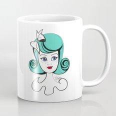Cute Vintage Fashion Doll Sketch (Aqua hair and red lips) Mug