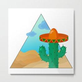 Cactus in mexican hat Metal Print