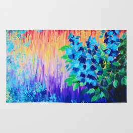 SHADES OF BEAUTIFUL - Stunning Bright BOLD Rainbow Ombre Pattern Blue Floral Hyacinth Nature Autumn Rug