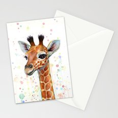 Giraffe Baby Animal Watercolor Whimsical Nursery Animals Stationery Cards