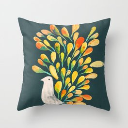 Watercolor Peacock Throw Pillow