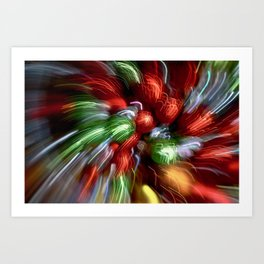 Abstract Red & Green Motion Blur Art Print