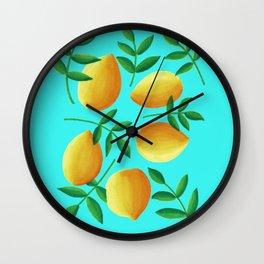 Lemons on Teal Wall Clock