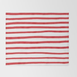 Red hand drawn stripes Throw Blanket