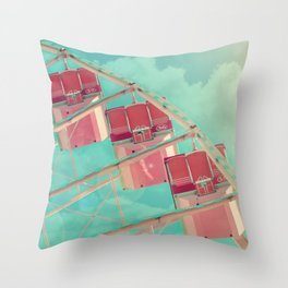 Cotton Candy Dreams, Ferris Wheel Print, Shabby Chic, Vintage Carnival, Nursery Decor Throw Pillow