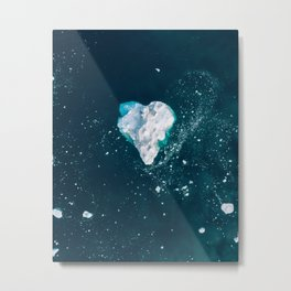 Heart of Winter - Aerial view of Icebergs in the arctic Ocean Metal Print