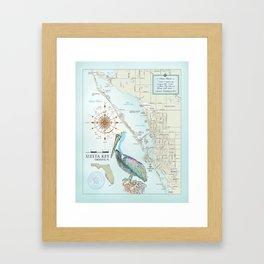 Sarasota & Siesta Key Area Map Framed Art Print
