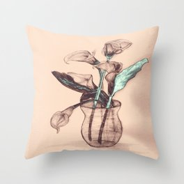 Old Photo Calla Lilies Throw Pillow