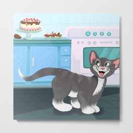 Kitty Spies A Tasty Surprise Metal Print
