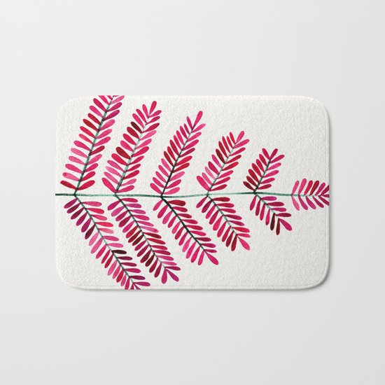 Pink Leaflets Bath Mat