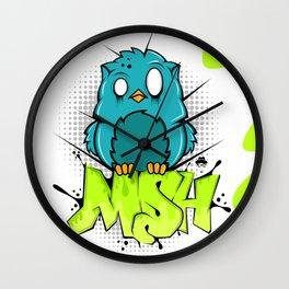 Zombie owl graffiti Wall Clock