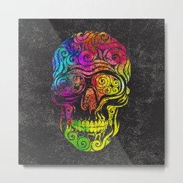 Swirly Skull (color) Metal Print