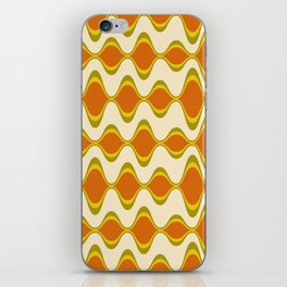 Retro Psychedelic Wavy Pattern in Orange, Yellow, Olive iPhone Skin