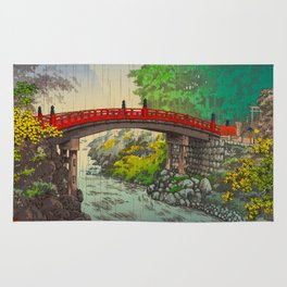 Vintage Japanese Woodblock Print Garden Red Bridge River Rapids Beautiful Green Forest Landscape Rug