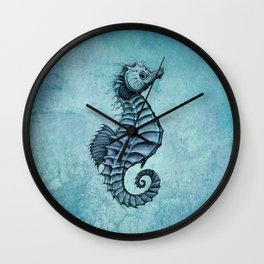 """Seahorse II"" by Amber Marine ~ Ink and Watercolor Art, (Copyright 2016) Wall Clock"