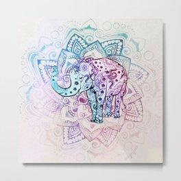 Henna Elephant Pastel Mandala Metal Print