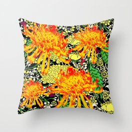 colorful oriental style golden spider mums pattern art Throw Pillow