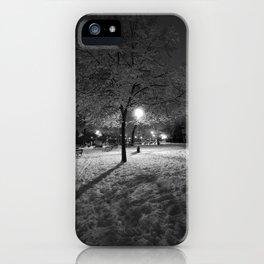 Lamplight on snow iPhone Case