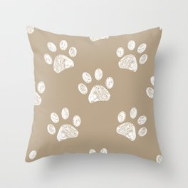 Light brown colored paw print pattern background Throw Pillow