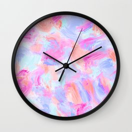 Modern Girly Pink Coral Purple Abstract Paint Wall Clock