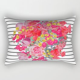 Antique inspired floral burst with thin black pinstripes Rectangular Pillow