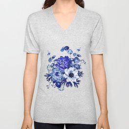 China Blue Porcelain, Asia, Peony, Flower, Floral, Cyan Unisex V-Neck