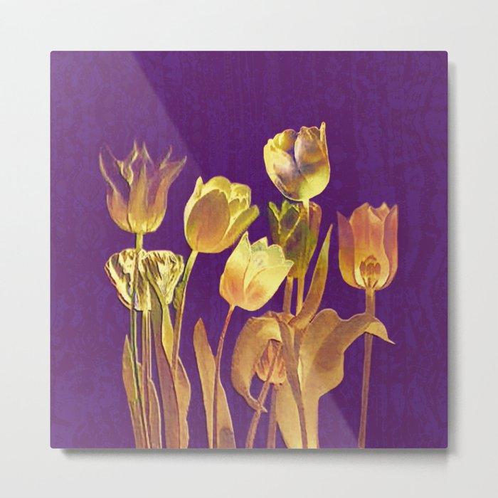 golden tulips on purple Metal Print