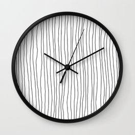 Hand Drawn Lines Vertical White Dark Gray Wall Clock