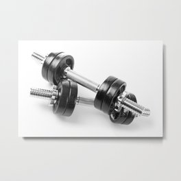 Chrome shiny hand barbells Metal Print