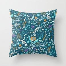 Flower circle pattern, blue Throw Pillow