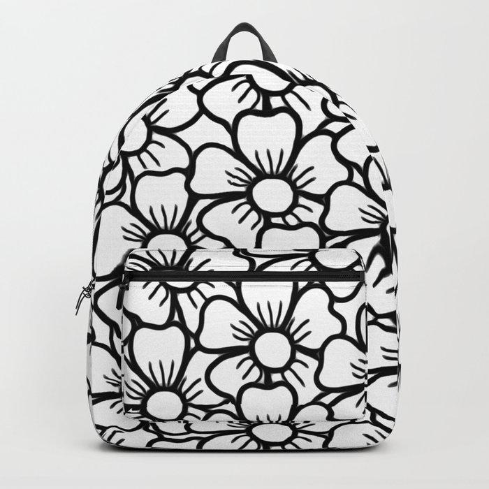 Floral White & Black Pattern Backpack