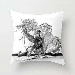 HOW IT BEGINS (featuring the photography of Harvey Lisse w/his daughter Chontelle) Throw Pillow