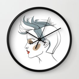 Woman with trendy haircut. Abstract face. Fashion illustration Wall Clock