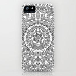 Black and White Feather Mandala Boho Hippie iPhone Case