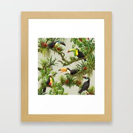 Toucans and Bromeliads (Canvas Background) Framed Art Print