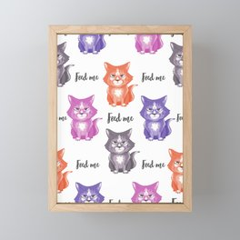 Angry kittens ask to feed them Framed Mini Art Print