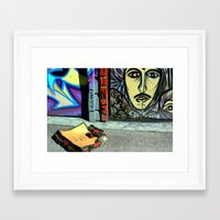 toilet Framed Art Prints featuring Toilet Training by oneofacard