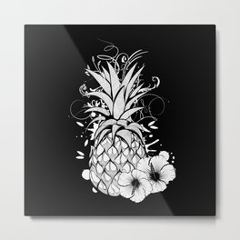 Pineapple with hibiscus blossom Metal Print