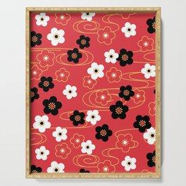 Red Sakura Kimono Pattern Serving Tray