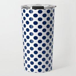 Navy Small Polka Dots Travel Mug