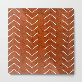 Orange And White Big Arrows Mud cloth Metal Print