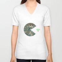 pacman V-neck T-shirts featuring Pacman by gunberk